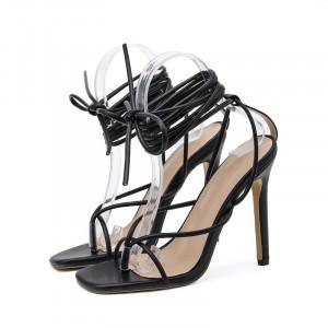 String Cross Style Party Wear Spike Heels - Black