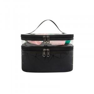Zipper Closure Two Compartment Travel Bags - Black