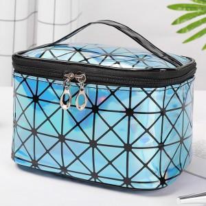 Zipper Closure Cosmetics Multi Purpose Travel Bags - Blue