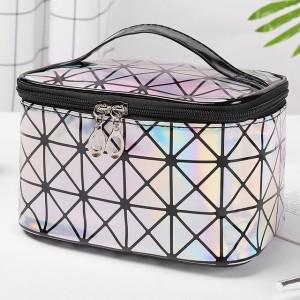 Zipper Closure Cosmetics Multi Purpose Travel Bags - Silver