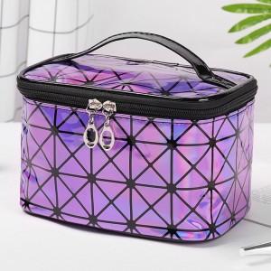 Zipper Closure Cosmetics Multi Purpose Travel Bags - Purple