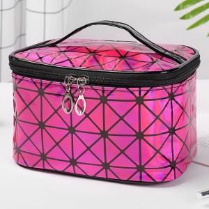 Zipper Closure Cosmetics Multi Purpose Travel Bags - Hot Pink
