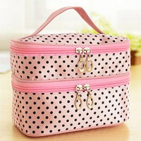 Zipper Closure Two Compartment Travel Bags - Pink