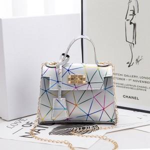 Twist Lock Geometric Print Chain Strap Handbags - Silver