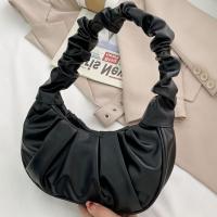 Zipper Closure Solid Color Synthetic Leather Handbags - Black