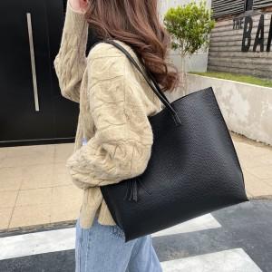 Tassel Hanging Synthetic Leather Shoulder Bags - Black
