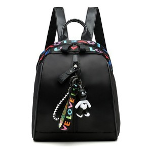 Doll Hanging Zipper Closure Printed Synthetic Leather Backpack