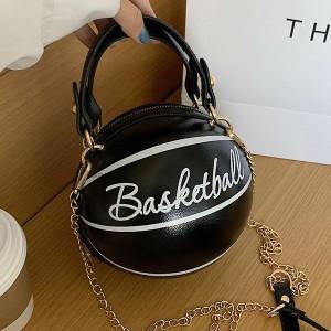 Creative Baseball Cover Zipper Closure Stylish Bags - Black