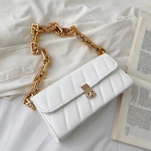 Twist Lock Geometric Texture Handbags - White