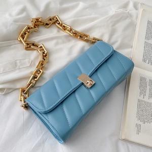 Twist Lock Geometric Texture Handbags - Blue