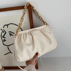 Vintage Old Times Pleated Pouch Handbags - White