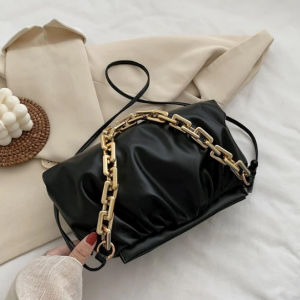 Vintage Old Times Pleated Pouch Handbags - Black