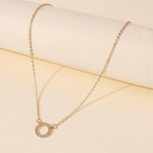 Gold Plated Ring Crystal Patched Necklace - Golden