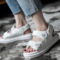 Velcro Closure Patchwork Flat Wear Slipper Sandals - White