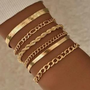 Gold Plated Six Pieces Braid Bracelet Set - Golden
