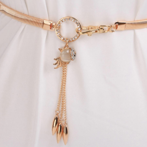 Crystal Patched Rhinestone Hanging Hooked Closure Belt - Golden