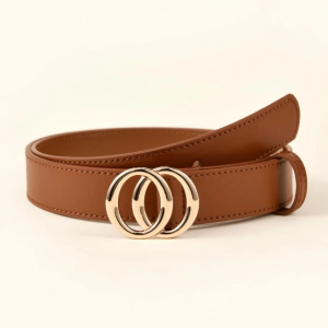 Synthetic Leather Vintage Style Dress Belt - Brown