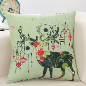 Cute Deer Print Home Living Office Sofa Pillow Cover - Light Green