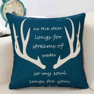 Cute Deer Print Home Living Office Sofa Pillow Cover - Dark Green