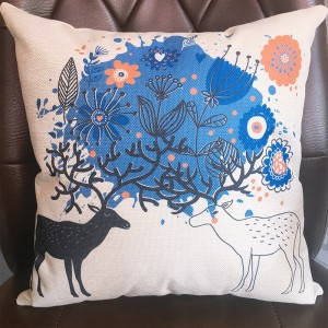 Cute Graphic Print Home Living Office Sofa Pillow Cover - Blue