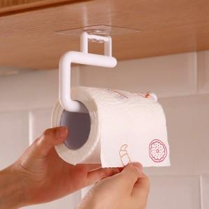 Bathroom Kitchen Free Punch Toilet Roll Paper Holder Hanging Shelf Organizer