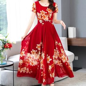 Short Sleeve Round Neck A Line Women Maxi Dress - Red