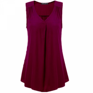 V Neck Pleated Solid Color Summer Blouse Top - Wine Red