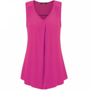 V Neck Pleated Solid Color Summer Blouse Top - Hot Pink