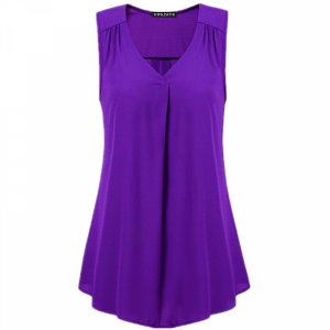 V Neck Pleated Solid Color Summer Blouse Top - Purple