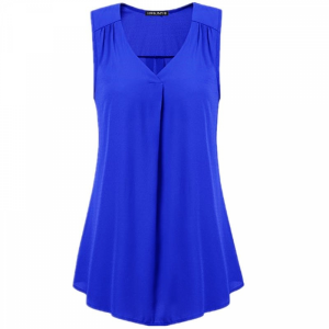 V Neck Pleated Solid Color Summer Blouse Top - Blue