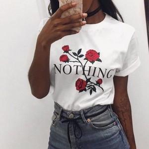 Round Neck Rose Printed Fashion T-Shirt - White