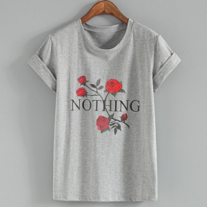 Round Neck Rose Printed Fashion T-Shirt - Gray
