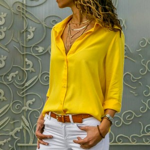 Button Closure Solid Color Casual Summer Shirt - Yellow