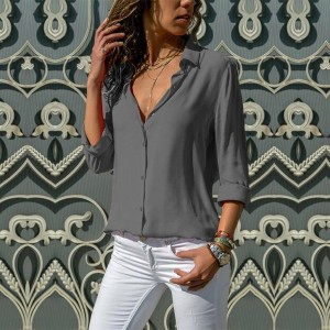 Button Closure Solid Color Casual Summer Shirt - Gray