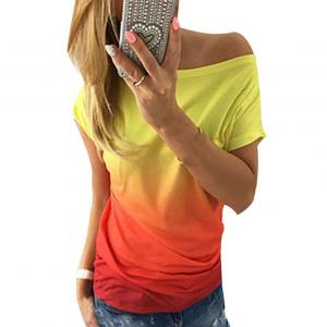 Wide Neck Gradient Print Summer Wear Top - Orange