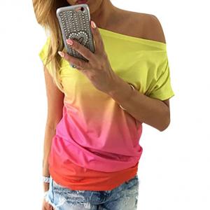 Wide Neck Gradient Print Summer Wear Top - Pink