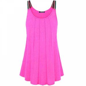 Strap Shoulder Pleated Summer Wear Top - Pink