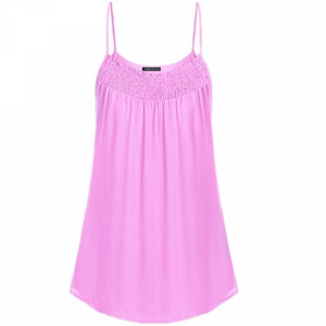 Spaghetti Strap Solid Color Summer Blouse Top - Pink