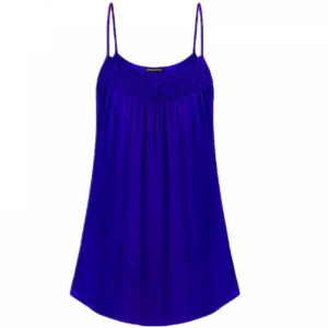 Spaghetti Strap Solid Color Summer Blouse Top - Blue