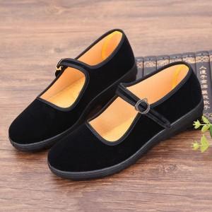 Buckle Closure Plain Solid Color School Flat Shoes - Black