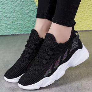 Canvas Lace Closure Slip Over Women Sneakers - Black