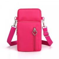 Zipper Closure Vertical Women Fashion Shoulder Bags - Hot Pink
