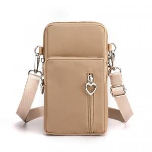 Zipper Closure Vertical Women Fashion Shoulder Bags - Khaki