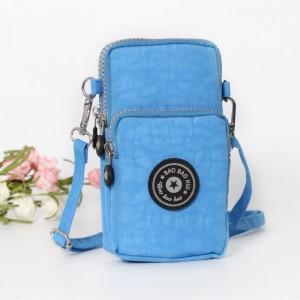 Mesh Pattern Zipper Closure Vertical Shoulder Bags - Blue