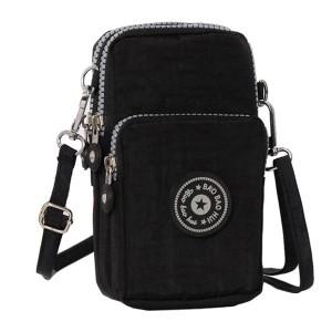 Mesh Pattern Zipper Closure Vertical Shoulder Bags - Black