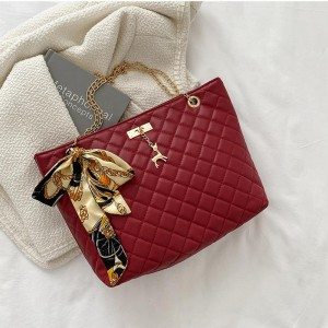 Patchwork Texture Chain Strap Canvas Knot Handbags - Red