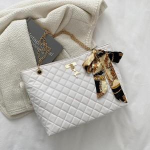 Patchwork Texture Chain Strap Canvas Knot Handbags - White
