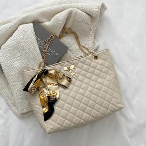 Patchwork Texture Chain Strap Canvas Knot Handbags - Beige