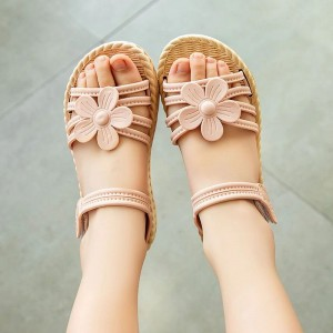 Floral Velcro Style Summer Wear Sandals For Kids - Pink