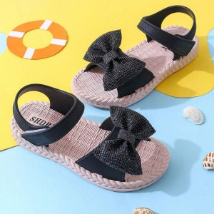 Velcro Closure Bow Patch Girls Wear Cute Sandals - Black